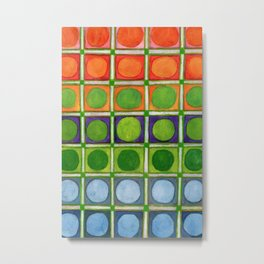 Beautiful Rainbow Colored Circles in a Grid Metal Print