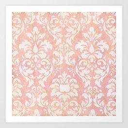 Soft Shabby Pink Damask Art Print
