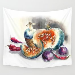 Watercolor harvest with vegetables, Thanksgiving Day Wall Tapestry
