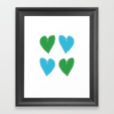 Blue and Green Hearts - 4 hearts Framed Art Print