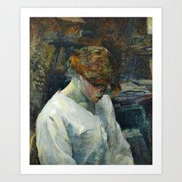 """Henri de Toulouse-Lautrec """"La Rousse in a White Blouse"""" Art Print"""