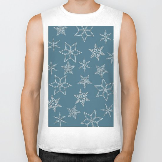 Silver Snowflakes On Teal Background Biker Tank