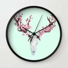 CHERRY BLOSSOM SKULL Wall Clock