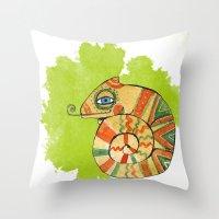 chameleon Throw Pillows featuring Chameleon by Nina Ezhik