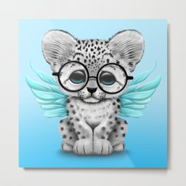 Snow Leopard Cub Fairy Wearing Glasses on Blue Metal Print