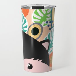 Fox, leaves and tropical fruits Travel Mug
