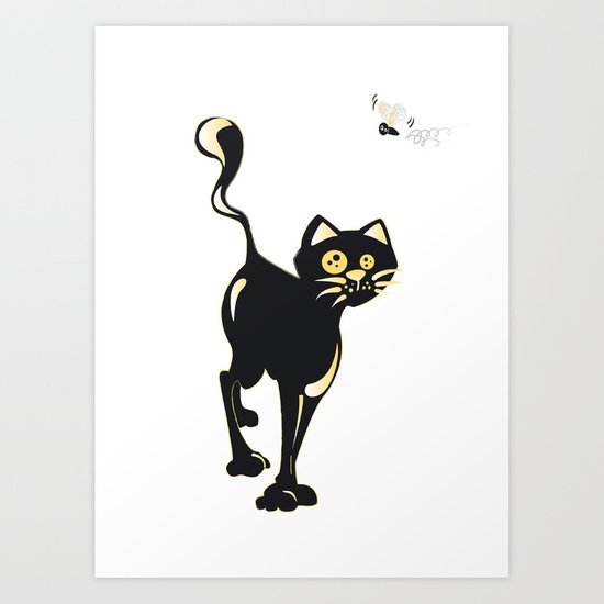 Cat and Fly Art Print