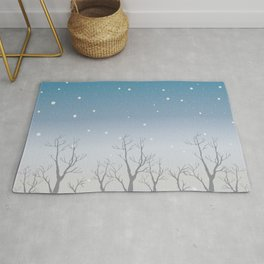 Winter Trees Background. Winter landscape with trees, snow Rug