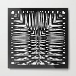 Geometric Black and White Traditional Tribal Pattern Metal Print
