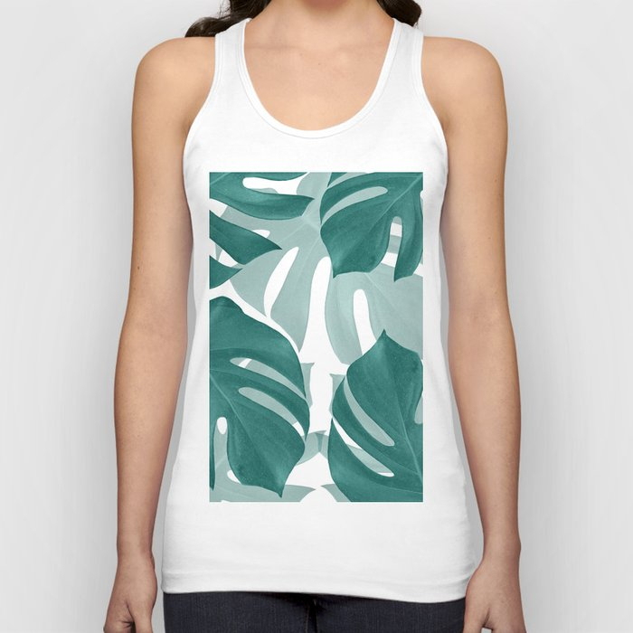 Monstera Leaves Vibes #1 #tropical #foliage #decor #art #society6 Unisex Tanktop