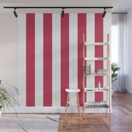 Dingy Dungeon fuchsia - solid color - white vertical lines pattern Wall Mural