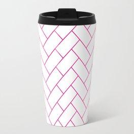 Traditional Herringbone -  Pink Travel Mug