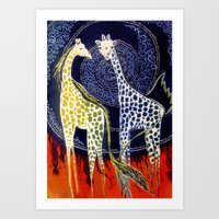 giraffes Art Prints featuring Giraffes by Ša Rūnė