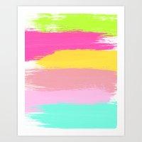 Colourful Paint Strokes Art Print