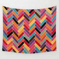 herringbone Wall Tapestries featuring herringbone by Sharon Turner