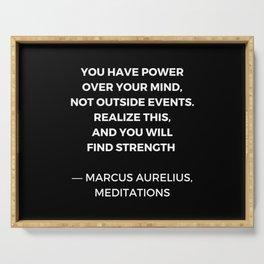 Stoic Wisdom Quotes - Marcus Aurelius Meditations - Find Strength Serving Tray