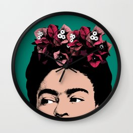 Frida Kahlo Floral Portrait Wall Clock