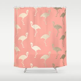 Gold Flamingo Pattern Coral Pink Shower Curtain