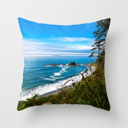 Pacific View - Coastal Scenery in Washington State Throw Pillow