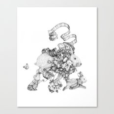 On the Run (Black and White Drawing) Canvas Print