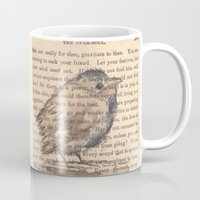 waldo Mugs featuring Ralph Waldo Emerson Bird by Wendy Roscoe Designs