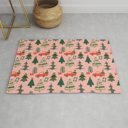 Christmas Tree, Vintage Red Truck, Mid Century Modern, Festive Ornaments Rug