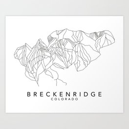 BRECKENRIDGE // Colorado Trail Map Black and White Lines Minimalist Ski & Snowboard Illustration Art Print