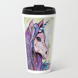 Pink Unicorn - Watercolor/inks by: Dominique Lacroix Travel Mug