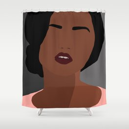 Mia - minimal, abstract portrait of an African American woman Shower Curtain