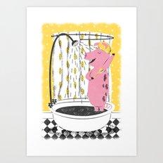 Piggy Shower Art Print