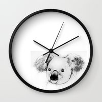 koala Wall Clocks featuring koala by Кaterina Кalinich