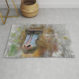 Artistic Animal Mandrill Rug
