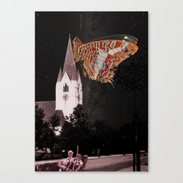 Hometown church is flying Canvas Print