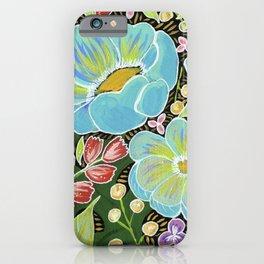 Aqua poppies iPhone Case