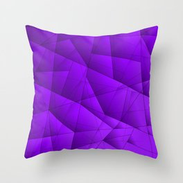 Bright contrasting violet fragments of crystals on triangles of irregular shape. Throw Pillow