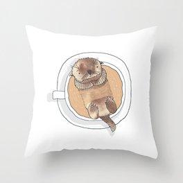 The Tea Otter Throw Pillow