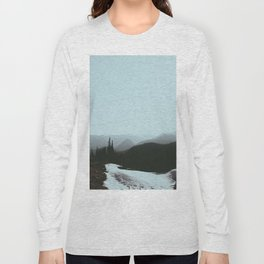 MIsty Cold Foggy Minimalist Winter Scandinavian Landscape River Greek Pine trees Long Sleeve T-shirt