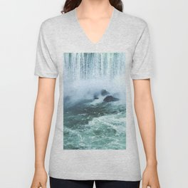 From below where all the water falls, Niagara 03 Unisex V-Neck
