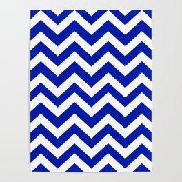 Blue (Pantone) - blue color - Zigzag Chevron Pattern Poster
