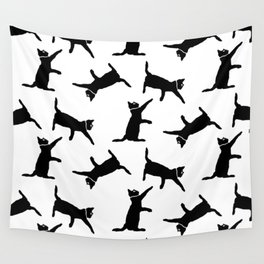 Cats on White Wall Tapestry
