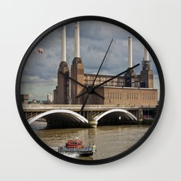 Battersea Power Station with Pink Floyd Pig Wall Clock