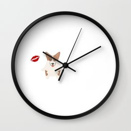 I Kissed A Pembroke Welsh Corgi And I Liked It Cute Dog Kiss Gift Idea Wall Clock