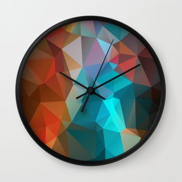 Abstract bright background of triangles polygon print illustration Wall Clock