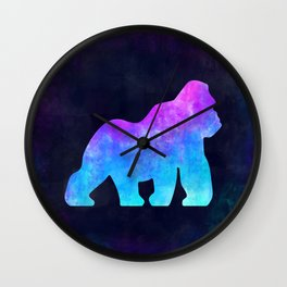 GORILLA IN SPACE // Animal Graphic Art // Watercolor Canvas Painting // Modern Minimal Cute Wall Clock