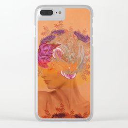 Woman in flowers III Clear iPhone Case