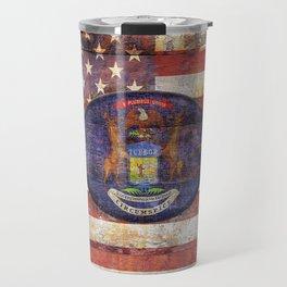 Michigan and USA flag on old wooden planks. Travel Mug