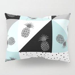 Teal black white dots pineapple geometrical color block Pillow Sham