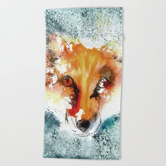 Wild wild Fox - Animal in the forest- watercolor illustration Beach Towel