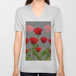 ORIGINAL GARDEN DESIGN OF RED ROSES ON GREY Unisex V-Neck