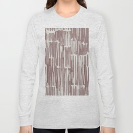 Simply Bamboo Brushstroke Red Earth on Lunar Gray Long Sleeve T-shirt